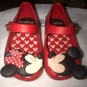 Mini Melissa Ultra Red Disney shoes. Size 5.